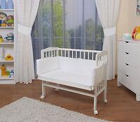 WALDIN Baby Beistellbett, Wiege, Babybett, weiß lackiert, Nestchen, Matratze