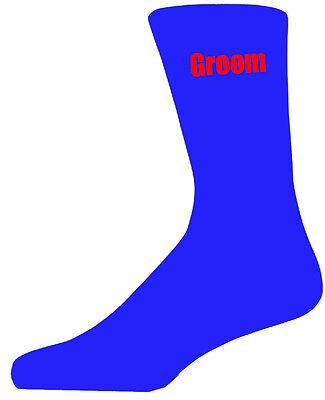 Herrlich Blue Luxury Cotton Rich Wedding Socks With Red Text, Groom, Best Man, Usher