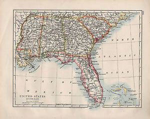 Details about 1909 VICTORIAN MAP ~ UNITED STATES SOUTH-EAST ~ FLORIDA on united states at night from space, united states map of south america and canada, united states map with north south east west, united states map with mississippi river, county map with mississippi,