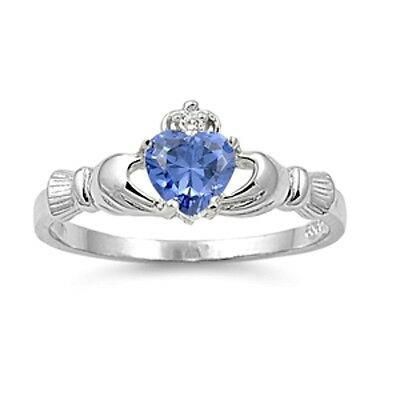 Sterling Silver Claddagh ring CZ Heart Crown Tanzanite Blue Purple size 4-12 New