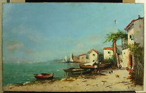 L-Christ-Bords-De-Sea-Mediterranean-Village-Of-Fisherman-IN-Italy-c1900-Paint