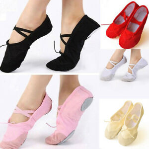Girl-Canvas-Ballet-Dance-Shoes-Comfty-Practice-Slippers-Pointed-Gymnastics-Shoes