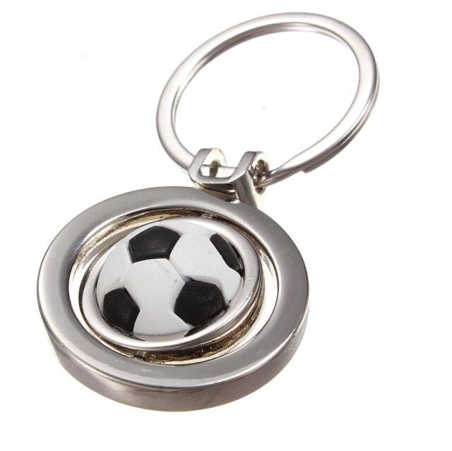 "3D 0.83"" Sport Rotating Football Soccer ball Car Keychain Keyring Key Chain Ring"