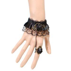 Armband-Gothik-Spitze-Ring-Sklave-Sklavenarmband-Vintage-Steampunk-Halloween-neu
