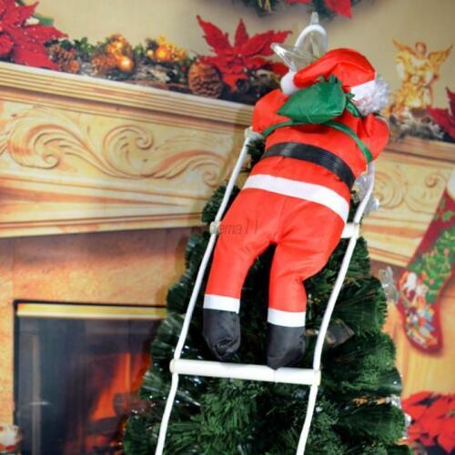 Christmas Santa Claus Climbing On Rope Ladder Xmas Trees Hanging Home Decor OMG
