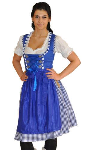 Set Monika Dirndl Mididirndl Trachtenkleid Blau mit Bluse 3 tlg