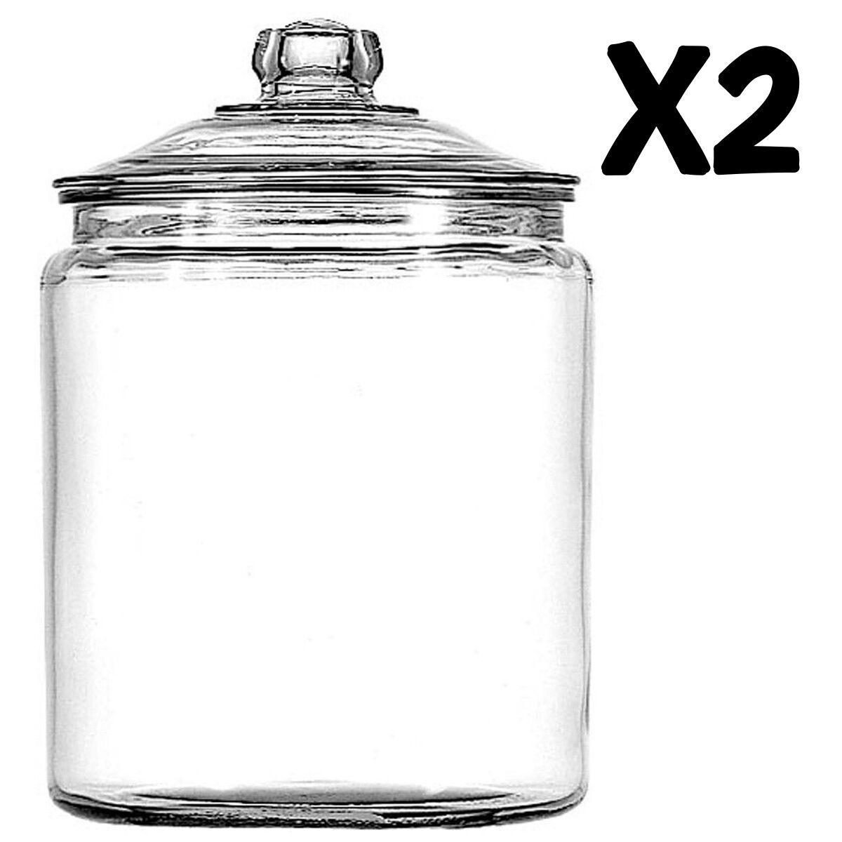 Clear Glass Jar W  Lid 2pc Set 1Gal Kitchen Pantry Storage Flour Sugar Cookie