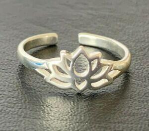 Genuine 925 Sterling Silver Toe Ring Adjustable Lotus Flower Filigree Girl Women
