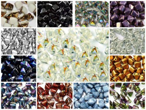 25pcs 6x6mm 2-hole Pyramid Beads Czech Glass CHOOSE COLOR