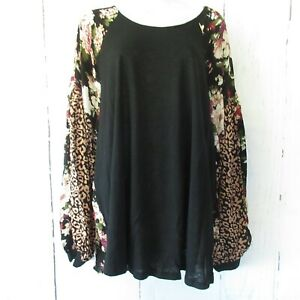 New-Umgee-Top-1X-Floral-Leopard-Animal-Raglan-Puff-Sleeve-Boho-Peasant-Plus-Size