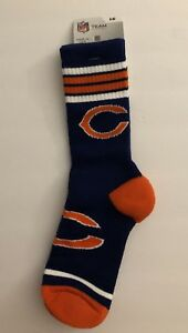946a1bb2 Details about NFL CHICAGO BEARS 4 Stripe Crew Socks ~ Size: Large ~ Brand  New!