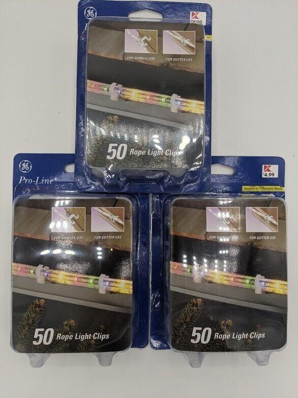 (3) conjuntos G.e. Pro-Line Clips, 50 clips de luz de la cuerda por paquete nuevo en caja!