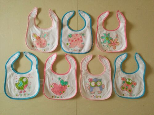 7 pack BABY BIBS DAYS of the WEEK Bib Terry different 3 designs Waterproof back