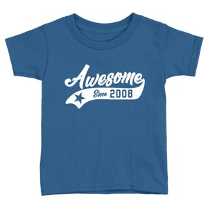 Awesome Since 2008 Kids T-Shirt 10th Year Old Birthday Celebration Gift Cool Top