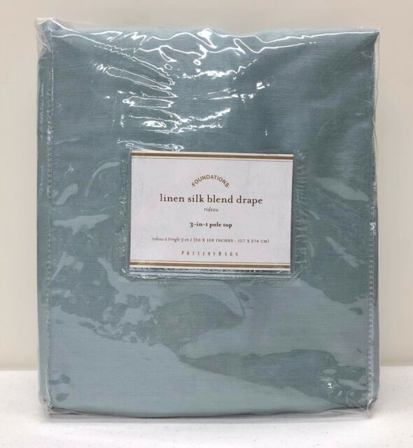 NEW Pottery Barn Linen Silk Blend Cotton Lined Drape