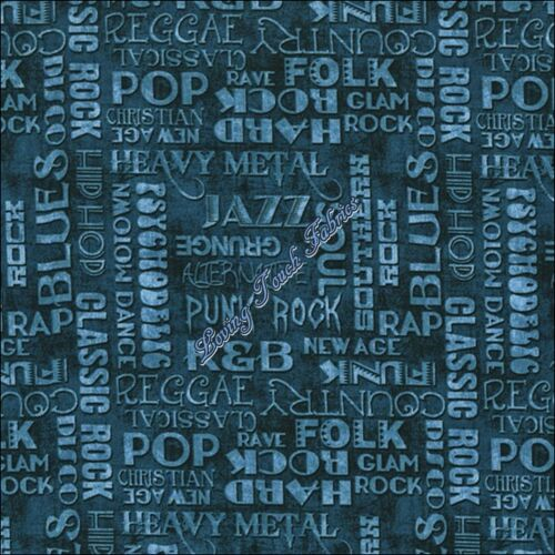 "RJR DAN MORRIS /""ALL AMPED UP/"" #2238 GENRE MUSIC WORDS FABRIC PRICED @ 1//2 YD"