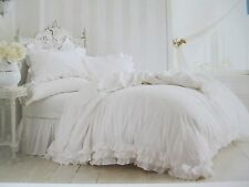 Rachel Ashwell SIMPLY SHABBY CHIC 3pc White Ruffle Lace Duvet Set - Full/Queen