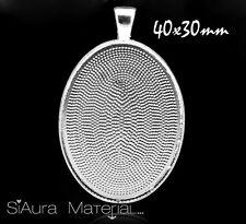 1x Colgante Medallón para 40x30mm Cabujón/Kamee ovalo bricolaje Material