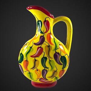 "Italian Art Studio Pottery Pitcher Chili Painted 14""T 8""W Yellow Red Glittery"