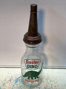 Sinclair Dino Motor Oil Bottle Spout Cap Glass 1 Quart Vintage Style Gas Station