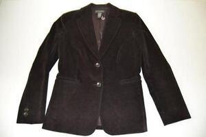 Womens Dark Blazer Corduroy Size Brown Button Banana Jacket 2 Republic 4 BSqCwWZ6