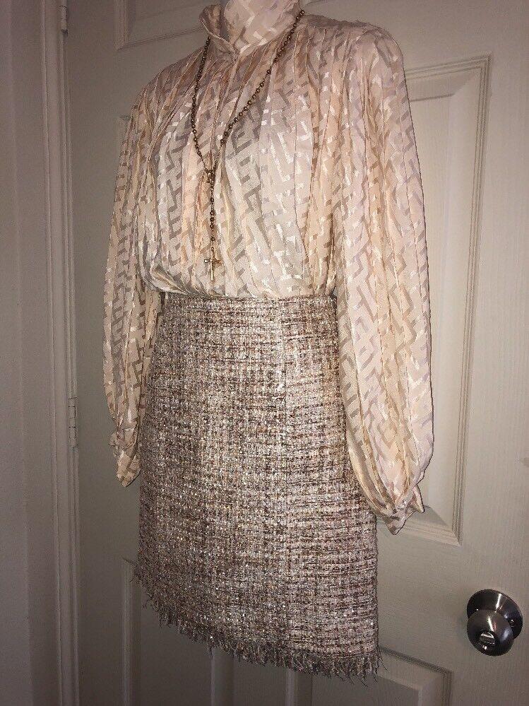 Boston Proper Women's Romantic Tweed Skirt Nude Shimmer Multi Size 4   98