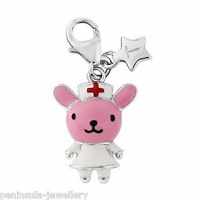 Sterling Silver Tingle Charm clip on Nurse Bunny with Gift Box and Bag SCH282
