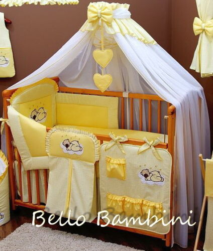 8 pcs BABY BEDDING SET //BUMPER//CANOPY //HOLDER to fit COT or COT BED YELLOW