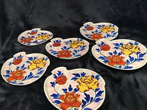 Details about Vintage set of 6 Gold Castle Chikusa Hand Painted Snack  Plates-Japan