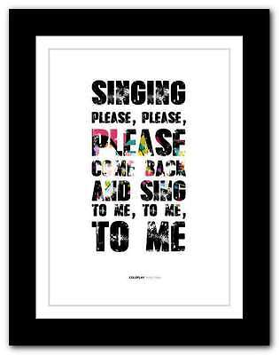 ❤ COLDPLAY ❤ In My Place ❤ song lyrics poster art edition typography print  #12 | eBay