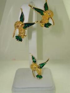 ADORABLE-VINTAGE-HUMMINGBIRD-EARRINGS-amp-PIN-SET-WITH-ENAMEL-WINGS