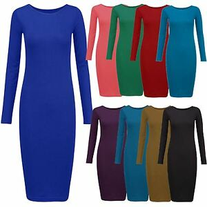 a2693a59793d Image is loading New-Ladies-Plus-Size-Long-Sleeve-Jersey-Midi-
