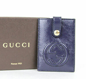 ed160abe709 New Authentic GUCCI Soho Patent Leather Card Case Pouch Blue 338331 ...