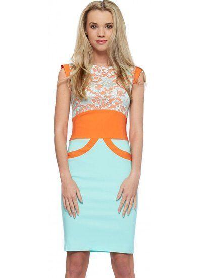 Tempest Ollie Lace Pencil Dress Sizes 8-16 BNWT RRP  orange & Mint Green