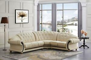 Classic Ivory Leather Living Room Sectional Sofa Right Hand Facing ...