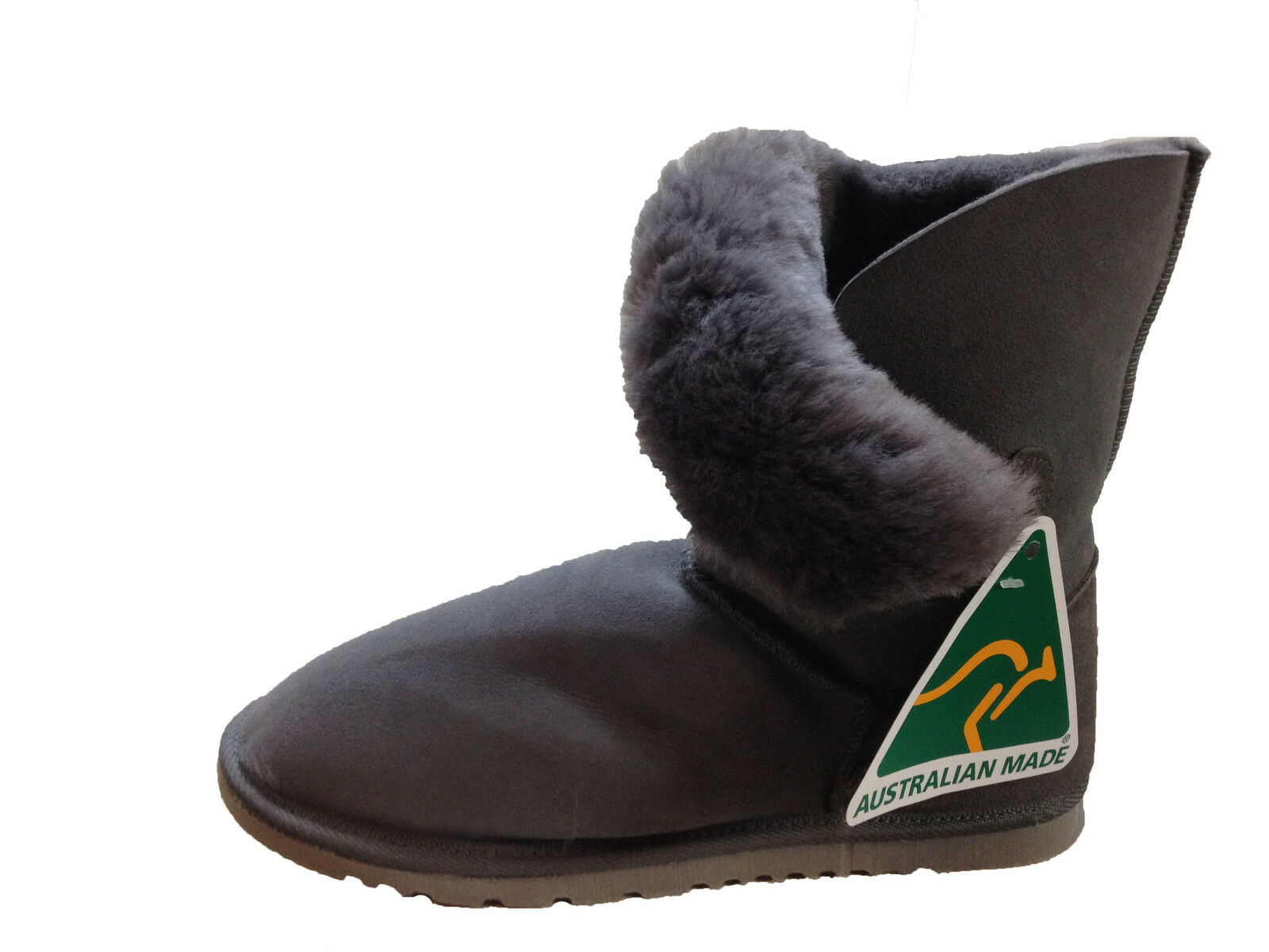 c8f3ed92fee8 Australian Made Genuine Sheepskin Lady Grå Genuine s One Button UGG Lady  Boots Grå färg