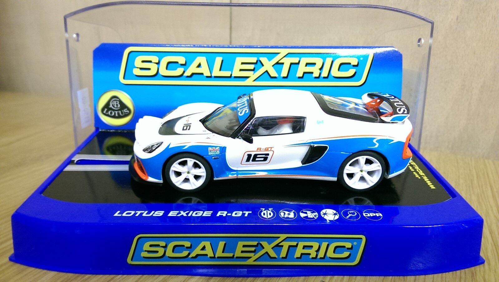 Scalextric C3520 Lotus Exige R-GT Blanco/Azul muestra de producción previa Nuevo