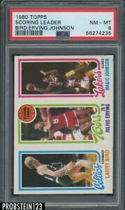 1980 Topps Basketball Larry Bird Magic Johnson RC Rookie Julius Erving HOF PSA 8