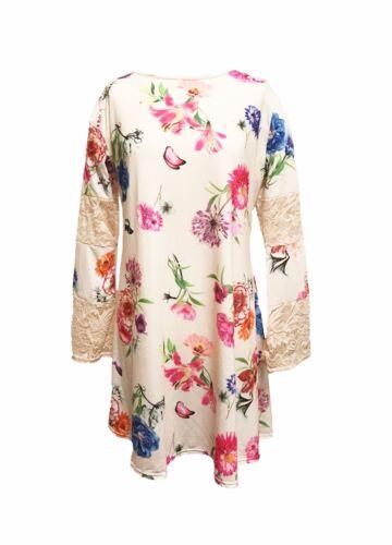 New Womens Ladies Lace Paneled Flute Sleeve Swing Dress Summer Dress Size 14-24