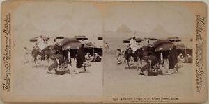 Egitto-Beduina-Piramidi-Foto-Stereo-Vintage-Albumina-1896