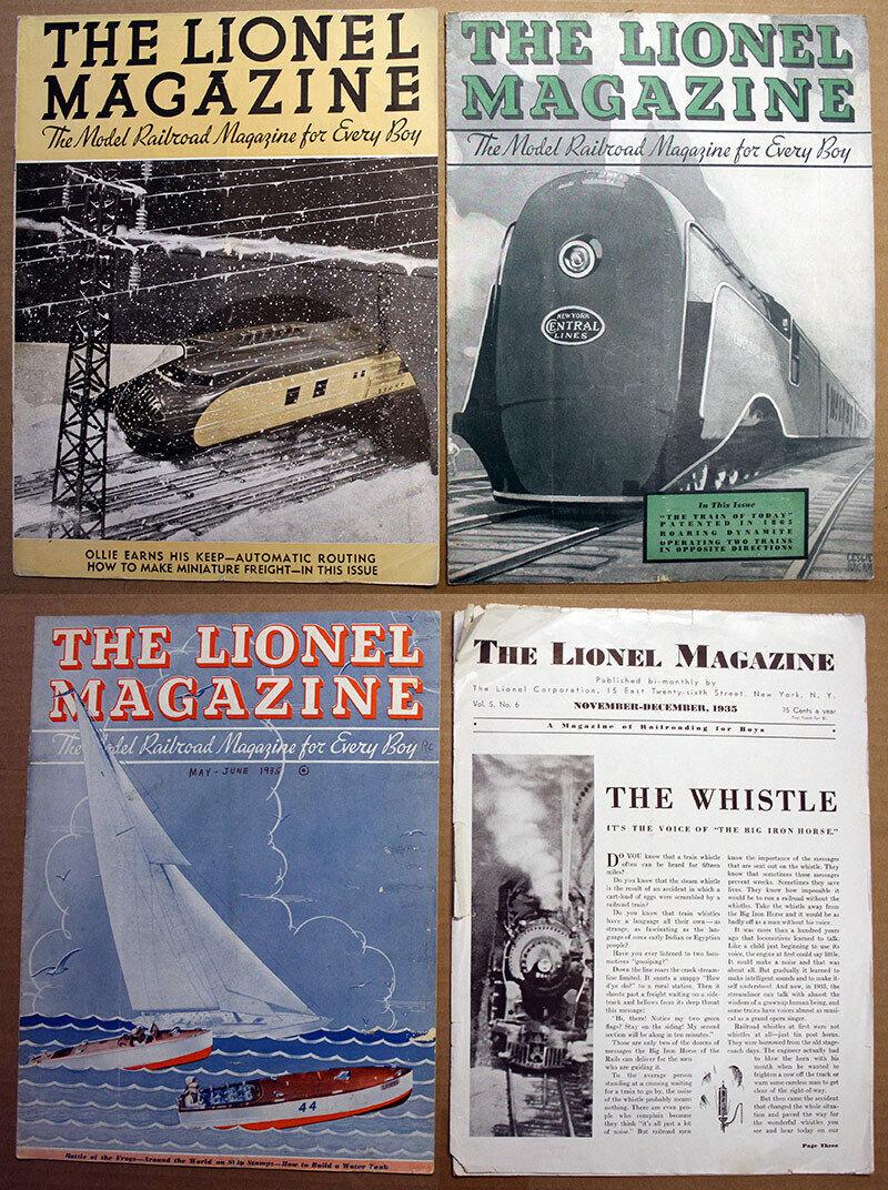 4 ISSUES ORIGINAL 1935  THE LIONEL MAGAZINE  modello RAILstradaS