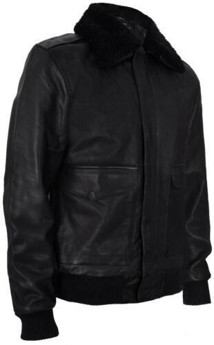 Men/'s Air Force A2 USAF Black Pilot Aviator Real Leather Flight Bomber Jacket