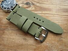 Vintage Handmade VERY Thick Green Smooth Leather Watchstrap 22mm eg Heuer Monza