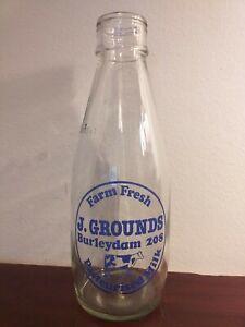 Collectable-Vintage-J-Grounds-Burleydam-Pint-Glass-Milk-Bottle
