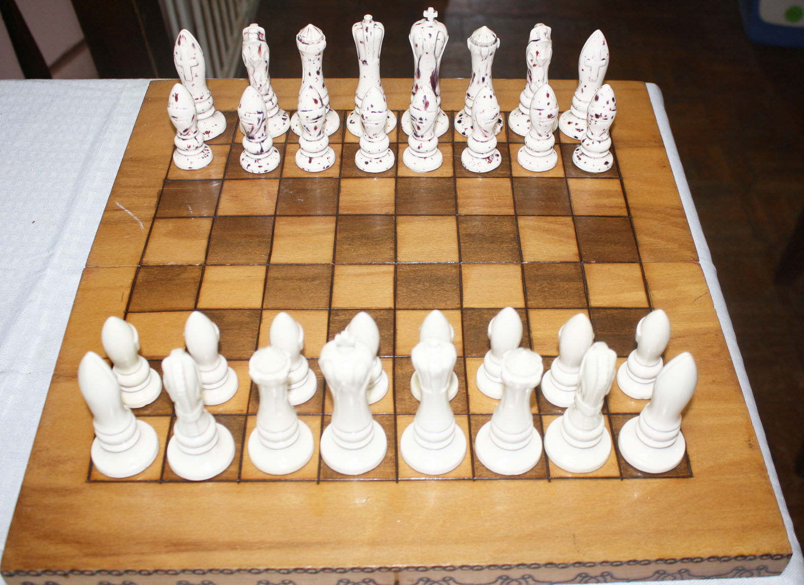 Unusual Porcelain Chess Set With Wood Board
