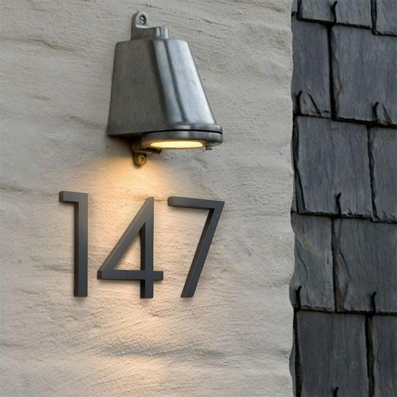House Number Floating Sign Modern Door Building Signage Outdoor Accessories Kit