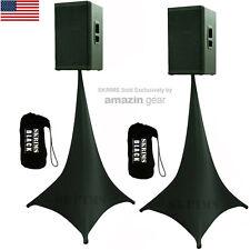 2X Black Triple Sided DJ Scrims Tripod Speaker Stand Stretch Covers +2 FREE Bags