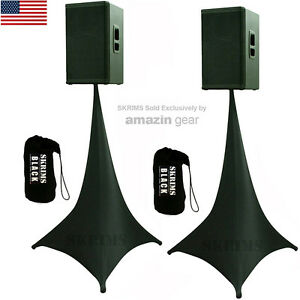 Details about 9X Black Triple Sided DJ Scrims Tripod Speaker Stand Stretch  Covers +9 FREE Bags