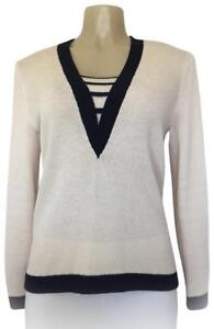 St-John-Neiman-Marcus-Santana-Knit-Top-Sweater-Cream-Beige-V-Neck-12-Long-Sleeve