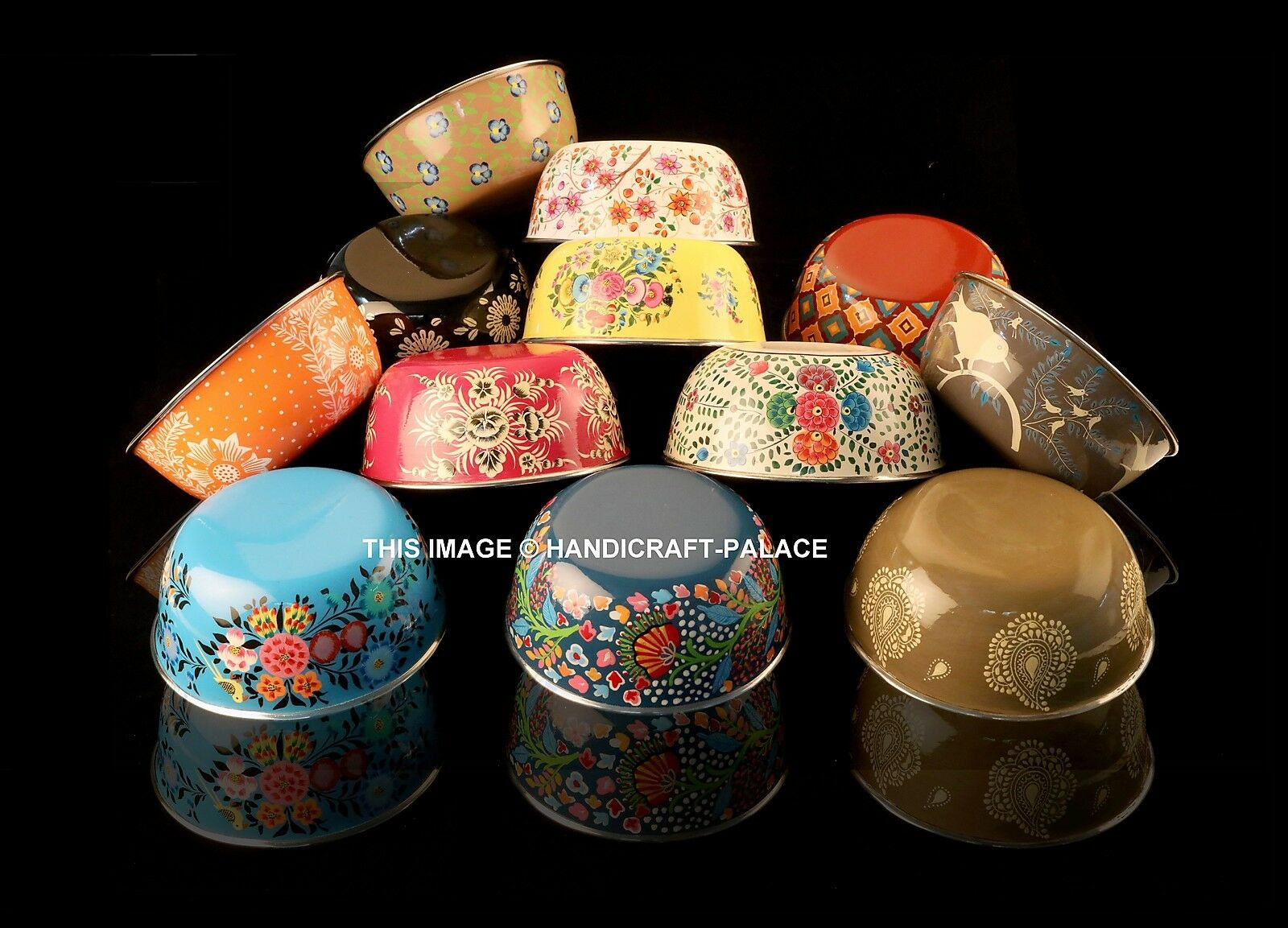 10 PC Wholesale Lot Stainless Steel Bowl Hand Painted Flower Serving Bowls Bowl
